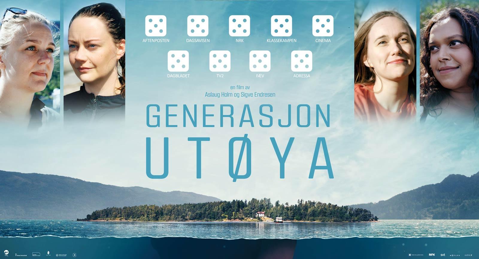 Kinoplakat: Montasje av fire ungdommer på bakgrunnsbilde av Utøya.