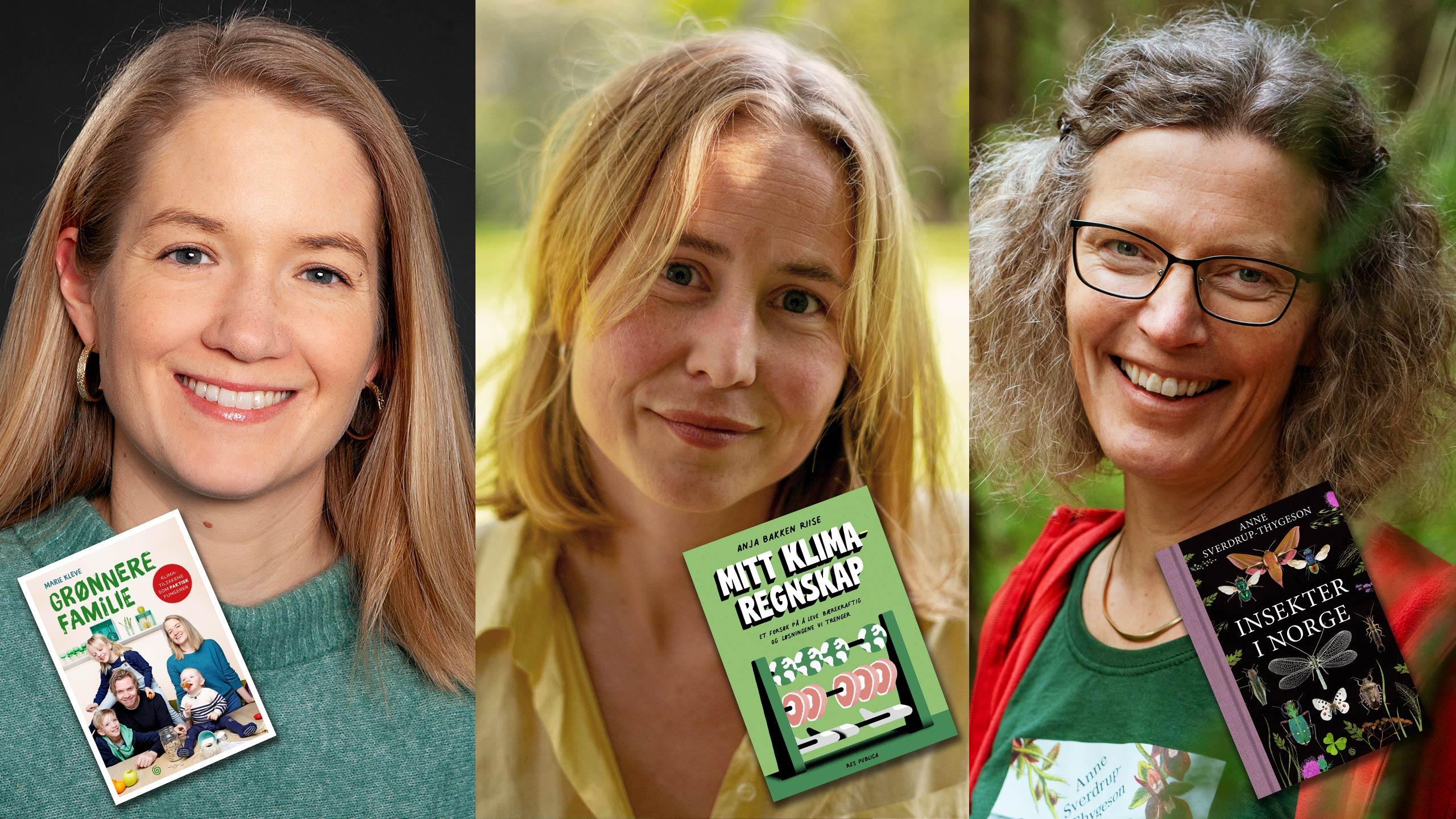 Tre kvinner med sine bøker