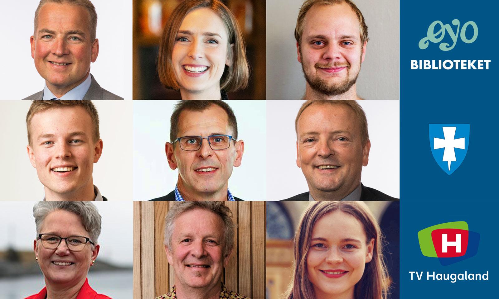 Montasje av ni politikere med logoer for Øyo, Rogaland fylkeskommune og TV-Haugaland.